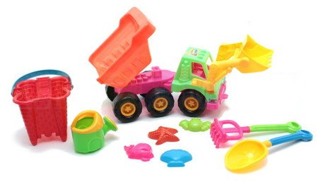 Ciężarówka z łyżką + kiper + narzędzia ogrodnicze